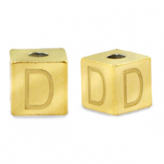 Stainless steel beads letter D Gold