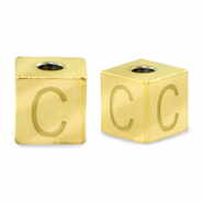 Stainless steel beads letter C Gold