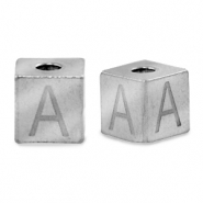 Stainless steel beads letter A Silver