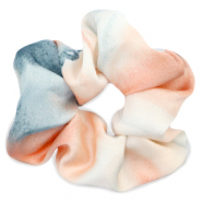 Scrunchie silky hair tie Peach-Blue