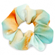 Scrunchie silky hair tie Turquoise-Orange