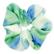 Scrunchie silky hair tie Green-Blue