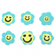 Polymer beads flower smiley Blue