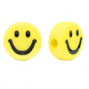 Acrylic letter beads smiley Yellow-Black