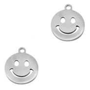 Stainless steel charms smiley Silver