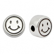 DQ European metal beads smiley 7mm Antique Silver (nickel free)