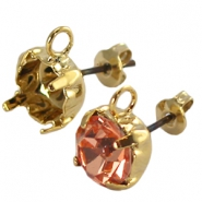 DQ earpins with loop for SS 39 chaton Gold plated