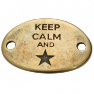 "Starshaped charm 2 eyes ""KEEP CALM""  Antique bronze (nickel free)"