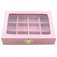12 Compartment jewellery storage box Licht rose