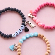 Inspirational Sets Bracelets and keychains with wooden beads + letter beads