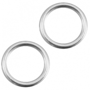 Closed DQ metal ring 13.5mm Antique  Silver (nickel free)
