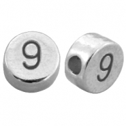 DQ metal number beads # 9  Antique silver (nickel free)