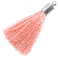 Tassel with silver coloured end cap Pink peach