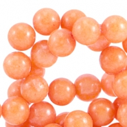 Round natural Jade stone beads 6mm Coral orange
