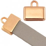 DQ metal square end cap (for 5/10mm flat leather/aztec) 4 slogans Rose gold (nickel free)