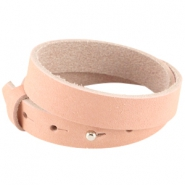 Double nubuck leather Cuoio bracelet 15mm for 20mm cabochon Light coral pink