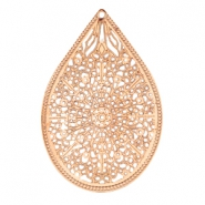 Drop shaped bohemian pendant Rose gold