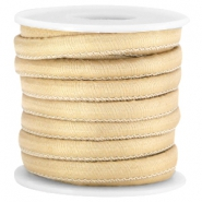 Trendy stitched Jean-Jean cord 6x4mm Ivory gold