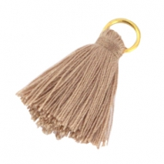 Small tassels with ring Biscuit brown