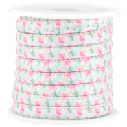 Trendy stitched cord 6x4mm Pink-turquoise