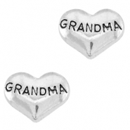 Heartshaped floating charms grandma Antique silver