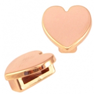 DQ metal Cuoio/Love Crystal slider heart Rose gold
