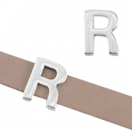 "DQ metal letter slider ""R"" Ø10.3x2.3mm Antique silver (nickel free)"