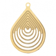 Drop shaped bohemian pendant with loop  Gold