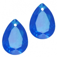 Drop shaped charms 10x14mm Dark capri blue