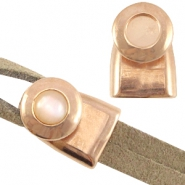DQ metal end cap/clasp for 7mm cabochon and Swarovski SS34 ( for 2x5mm wire/leather) Rose gold (nickel free)