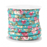 Trendy stitched cord 6x4mm Blue turquoise - rose