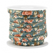 Trendy stitched cord 6x4mm Antique teal blue