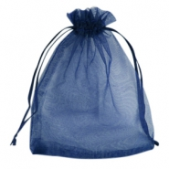 Organza jewellery bag 12x15cm Navy blue