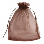 Organza jewellery bag 12x15cm Dark brown