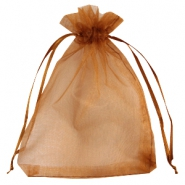 Organza jewellery bag 12x15cm Brown