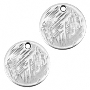 Round DQ metal charm 15mm Antique silver (nickel free)