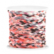 Trendy flat braided waxed cord 3mm Coral red