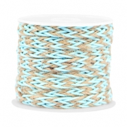 Trendy flat braided waxed cord 7mm Turquoise blue
