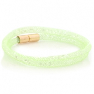 Double crystal faceted bracelet Crysolite green - crystal