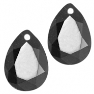 Drop shaped charms 10x14mm Jet black