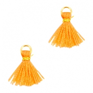 Mini tassels Ibiza style  Gold-Coral orange