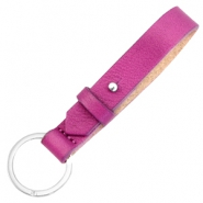 Leather 15mm Cuoio keychains for 20mm cabochon Fuchsia orchid rose