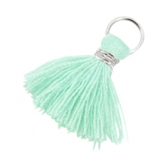 Ibiza style tassels 2cm Silver-Turquoise green
