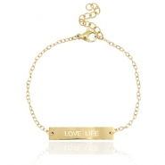 "Stainless steel bracelet with quote ""LOVE LIFE"" Gold"
