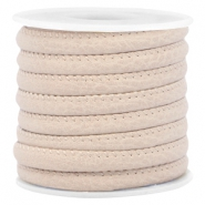 Stitched faux leather 6x4mm Light beige brown