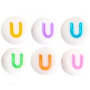 Acrylic letterbeads letter U Multicolor-White