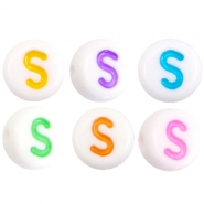 Acrylic letterbeads letter S Multicolor-White