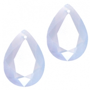 Drop shaped SQ faceted charms 10x14mm Light blue opal