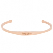 "Stainless steel bracelet with quote ""INSPIRE Rose gold"