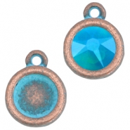 DQ setting with 1 loop for 7mm cabochon and SS34 flatback stone Copper blue patina (nickel free)